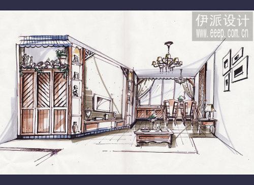 客餐厅手绘方案图.