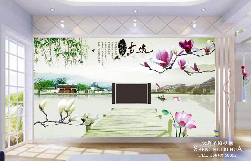 家居手绘电视背景墙彩绘墙画欣赏