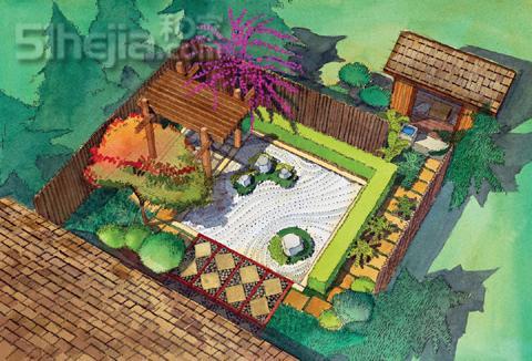 日式景观手绘平面图
