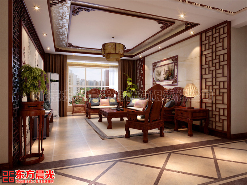 中式别墅装修背景墙色-北京东方晨光装饰有限公司的