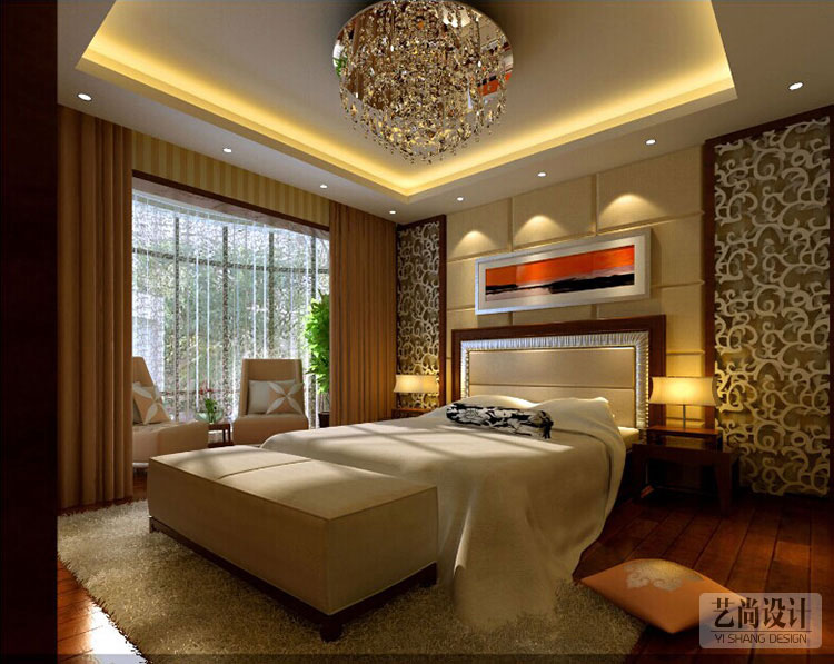 三室两厅现代简约装修案例效果图---卧室装修效果图