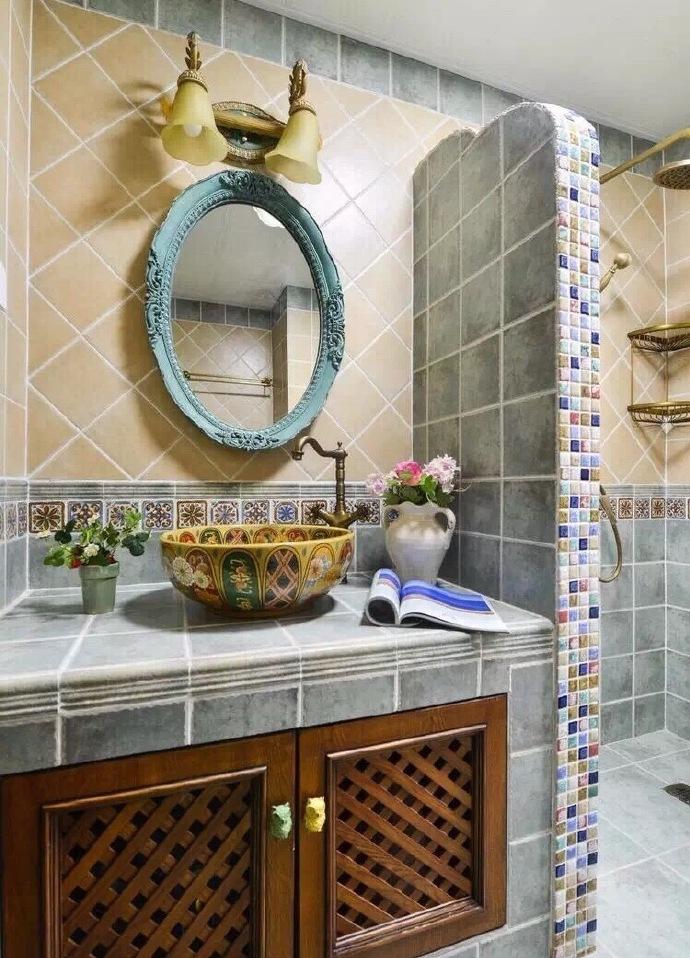 砖砌卫生间洗手台面美呆了-惠南镇家装公司