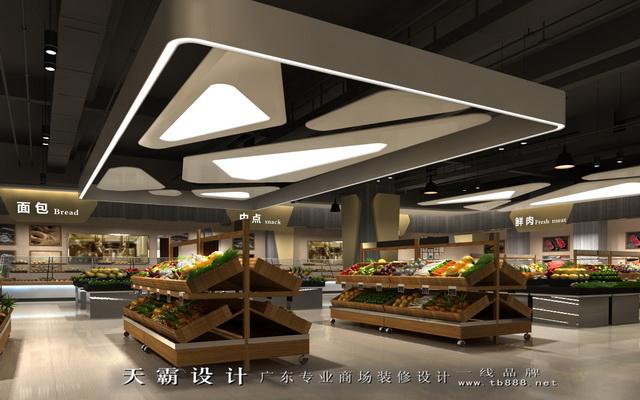 精美海口超市装修设计-广东东莞市天霸设计装饰工程的