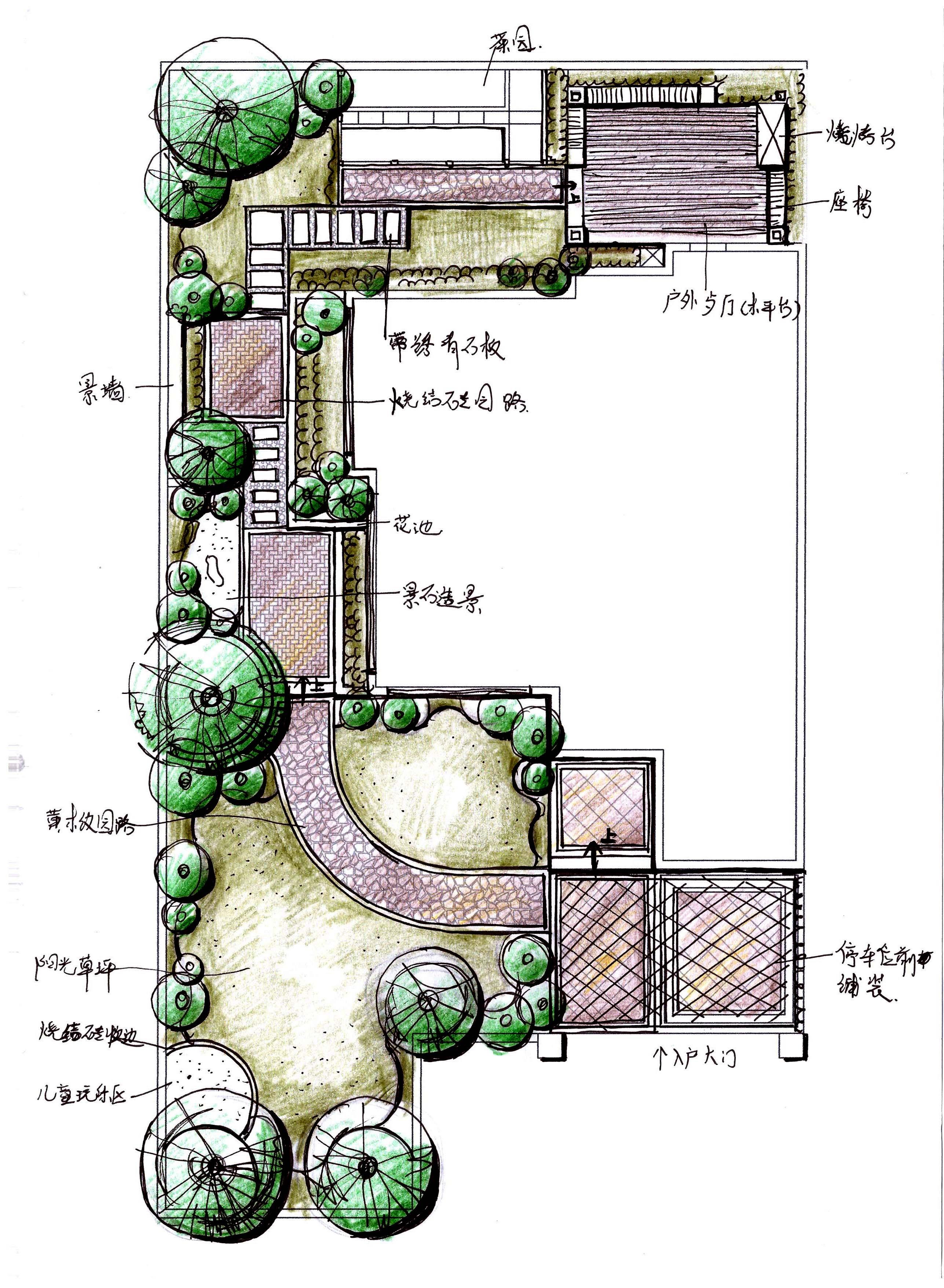 别墅庭院设计手绘_设计展示图片