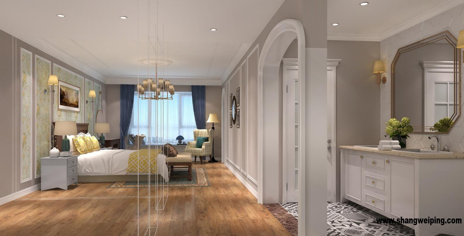 主卧室效果图 客厅整体是美式风格,家具软装现代