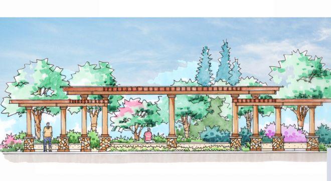 手绘小区景观立面图
