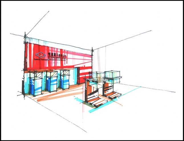 展厅设计效果图手绘图