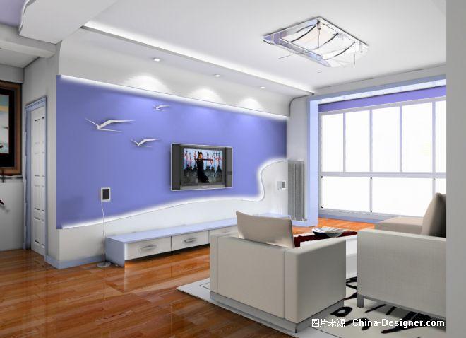 蓝色欧式客厅装