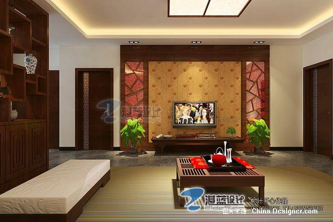 本地简中风格自建楼-廖柏森的设计师家园-5-10万,四居,红色,客厅,中式
