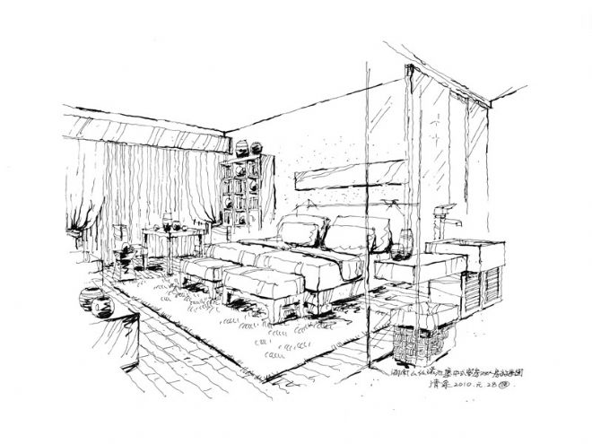 双人床房手绘效果图