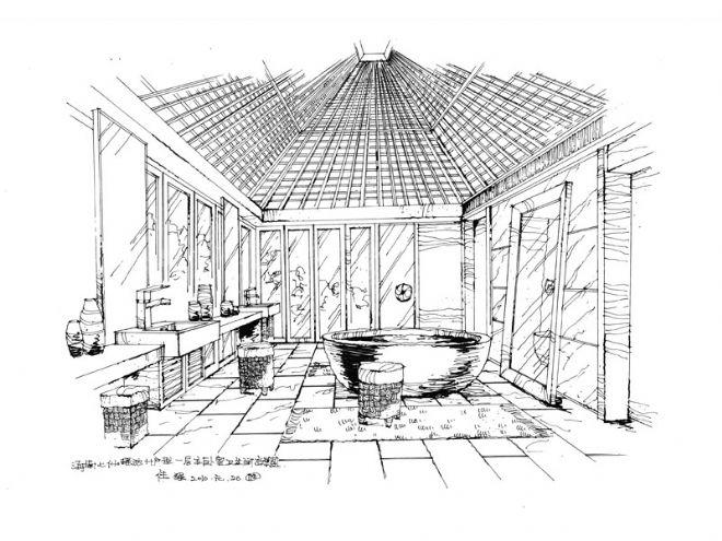 一层主卧室卫生间手绘效果图