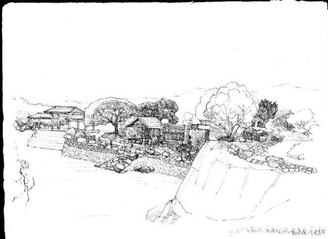 生态园笔手绘图片