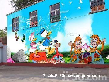 幼儿园室外墙面彩绘!喷绘!