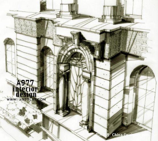 银行门头局部手绘图
