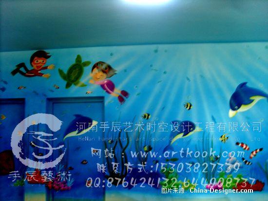 幼儿园墙体彩绘; 郑州手绘墙-海底世界;; 海底世界卡通墙体彩绘--海豚