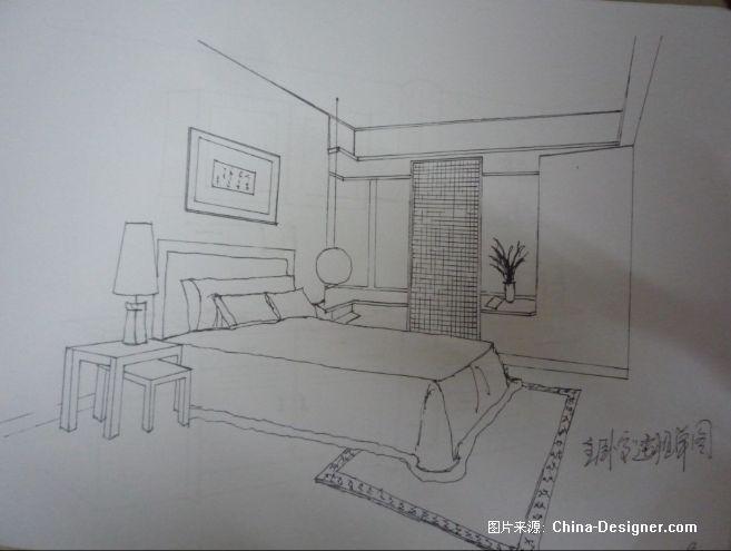 素描卧室透视图