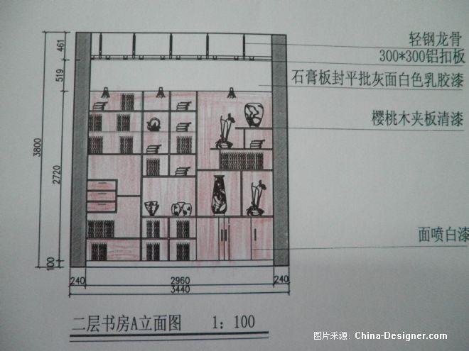 手绘客厅电视墙立面图
