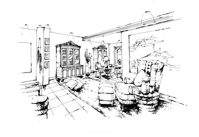 成都南天府创意公园8#楼a户型设计手绘效果图-任清