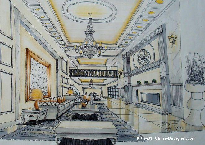 家装手绘方案图-李卫诗的设计师家园-棕色,新中式,卧室,餐厅,独栋别墅
