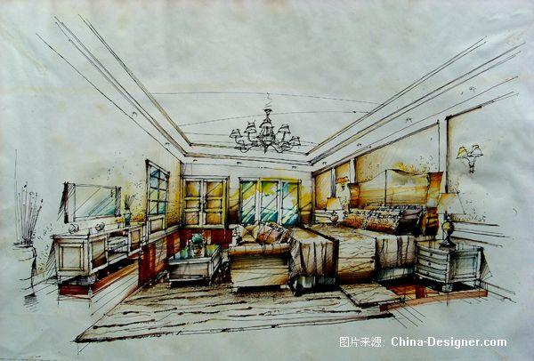 欧式卧室马克笔手绘图