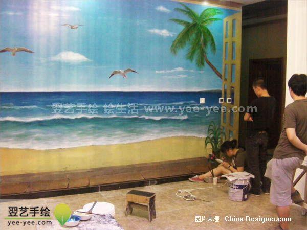 手绘墙体彩绘-北京手绘墙绘的设计师家园-1-5万,别墅 ,客厅,黄色,欧式
