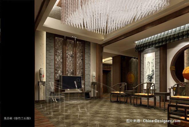 柳湖书院-紫墨空间文化艺术有限公司的设计师家园-中式,黄色
