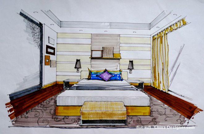 一层老人房手绘效果图