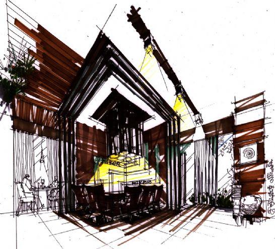 杨飞的设计师家园; 书吧区手绘方案;; 喜欢这组装修效果图?图片