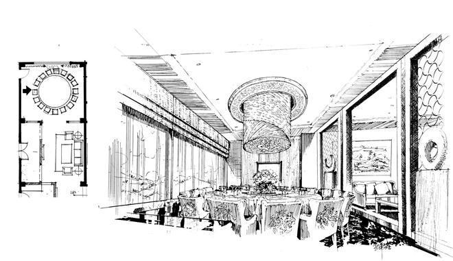 创意餐馆手绘线稿