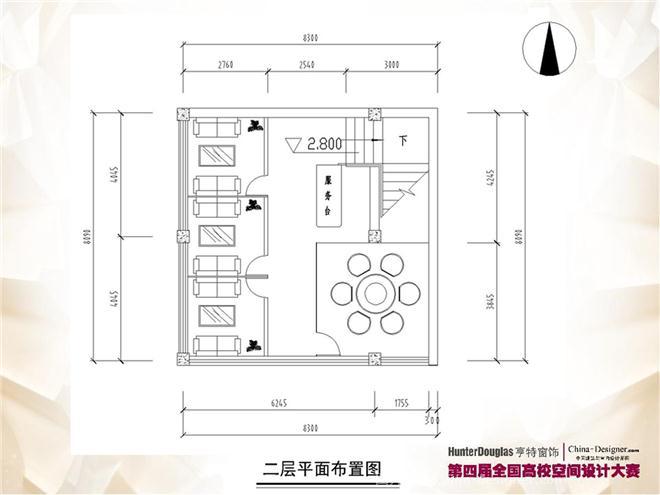 二层平面图; 街角咖啡店设计;