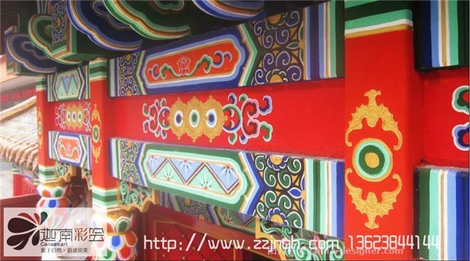 安阳全聚德仿古建筑彩绘案例-旋子彩绘风格-郑州手绘墙绘壁画装饰公司