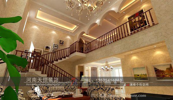 楼中楼装修简欧风格效-河南天恒装饰工程有限公司的