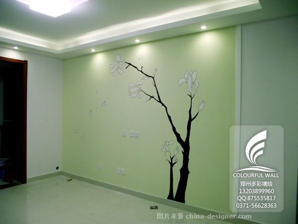 电视墙彩绘 郑州墙绘-郑州多彩墙绘的设计师家园-新中式,客厅