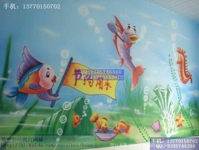 幼儿园墙壁装饰环境布置儿童画彩绘5