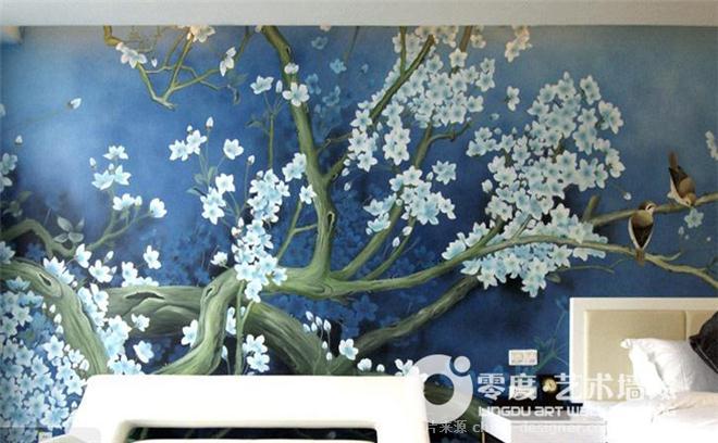 大兴国画墙绘公司:彩绘牡丹,彩绘荷花-大兴墙绘专业公司,大兴墙体彩绘