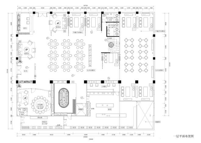 榕都318主题餐厅一层平面布置图