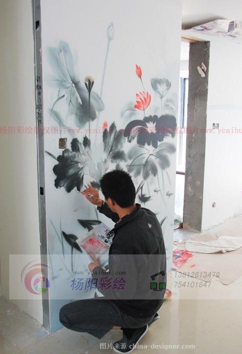 苏州玄关手绘墙-水墨荷花-苏州手绘墙的设计师家园-苏州墙体彩绘,手绘