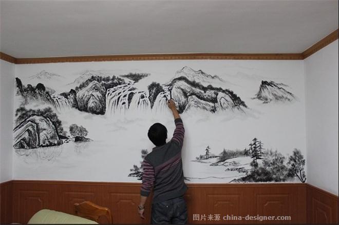 石家庄墙绘-手绘山水画背景墙-石家庄之典墙体彩绘的设计师家园-50