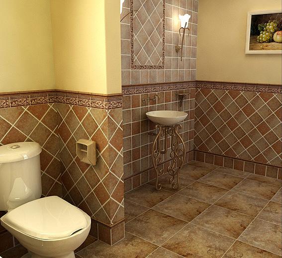 案例说明: 这款威尼斯商人欧陆乡村风格瓷砖是成都牧马山一别墅浴室与盥洗间实景。地面采用450规格地砖,墙体采用威尼斯商人152规格小方砖通过正贴与斜贴两种混合式铺贴方式,用腰线点缀画框,充分体现了欧陆乡村风格具有对称、精巧、幽雅、华美的特点。壁灯体现出的光影和色感,将欧陆乡村风格的自然、尊贵表现的淋漓尽致。